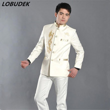 male suit set jacket pants costume fashion formal dress black white Chinese tunic  clothes for singer dancer star nightclub show