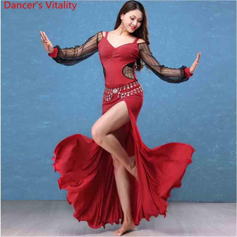Mode ventre Oriental indien danse Costume manches bouffantes Perspective robe femme dame filles Rumba Samba Tango Dancewear vêtements