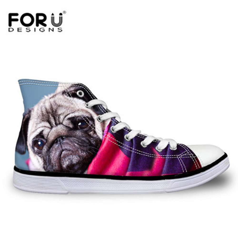FORUDESIGNS 2017 Women Classic High Top Vulcanized Shoes Cute Pug Dog Bulldog Printing Female Casual Canvas Shoes Student Flats