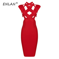 Black Rayon High Neck Cross Hollow Out Knee Length Women Sexy 2019 Newest Bodycon Bandage Dress