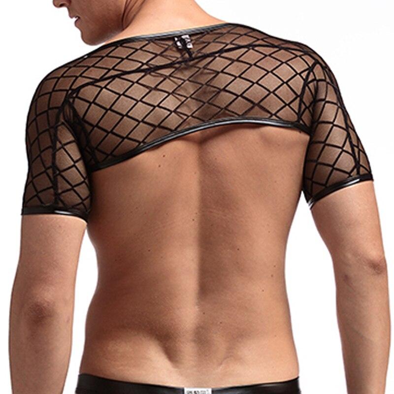 Sexy Mesh Crop   Tank     Tops   Men's Singlet Sexy Plaid Transparent   Tank     Tops   Undershirts Gay Compression Half Vest