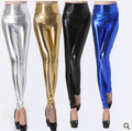 Мода высокая талия сексуальное блестящий неоновые металлик леггинсы марка панк искусственная тонкие леггинсы женщин узкие брюки черный синий золото серебро L05
