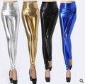 Moda cintura alta Sexy brilhante de néon metálico Leggings marca Punk PU Slim Leggings mulheres calças Skinny Black Blue ouro prata L05