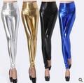 Moda de cintura alta Sexy brillante neón metálico Leggings marca Punk PU delgado Leggings mujeres pantalones flacos de negro azul oro plata L05
