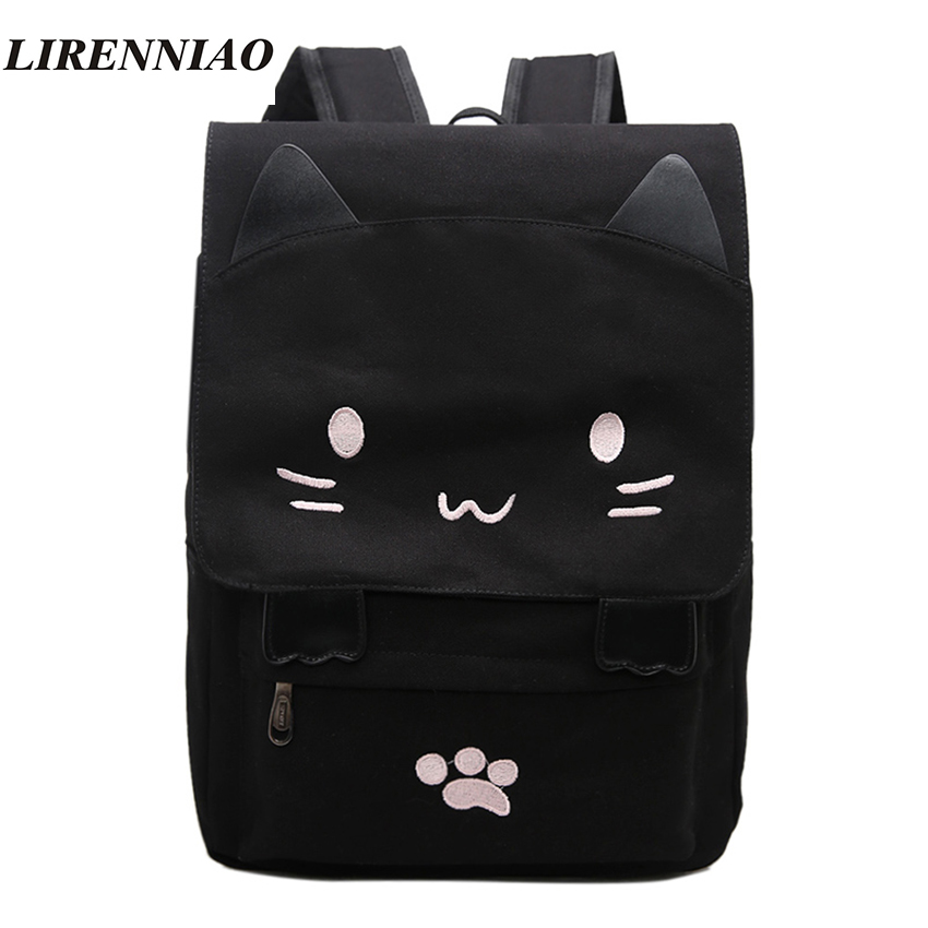 Fashion Canvas Backpacks For Teenage Girls School Bags Cute Cat Women Backpack Preppy Style Cartoon Bag Large Capacity Mochila ux32a laptop motherboard ux32vd mainboard i3cpu integarted 2gb ram 100% tested free shipping