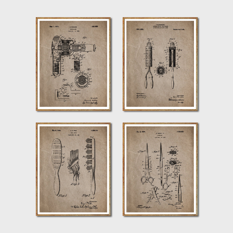 Gifts For Hairdressers 1930 Scissors Hair Stylist Salon Posters Patent Art Print