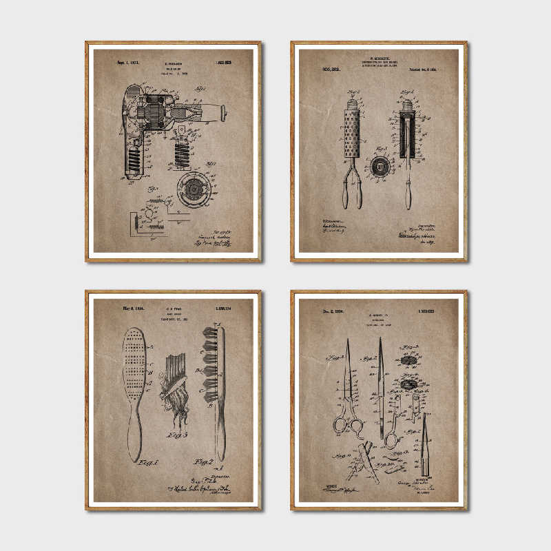 Hair Patent Posters and Prints Hair Salon Wall Art Decor Vintage Hairdresser Blueprint Poster Canvas Painting Wall Pictures Gift