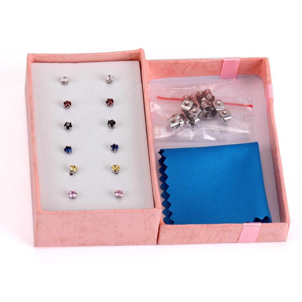 LUXUSTEEL Gift Box 6pairs Earring Sets Size 3mm/5mm/7mm Stainless Steel Anit-allergy Colorful Crystal Stud Earring Bijoux