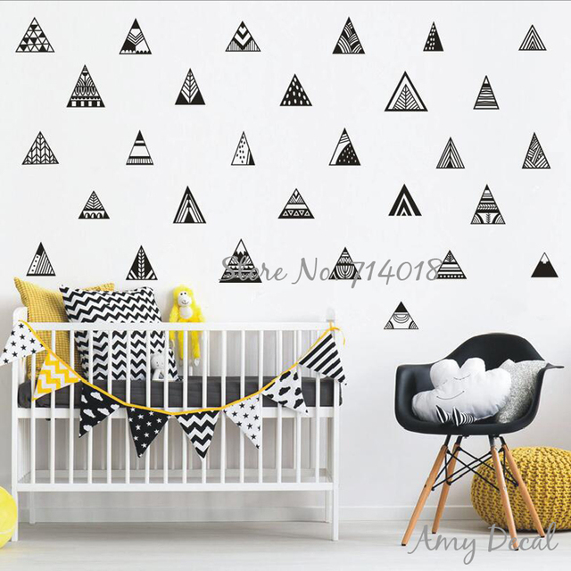 nordic style mountain wall decals geometric triangle cute tribal