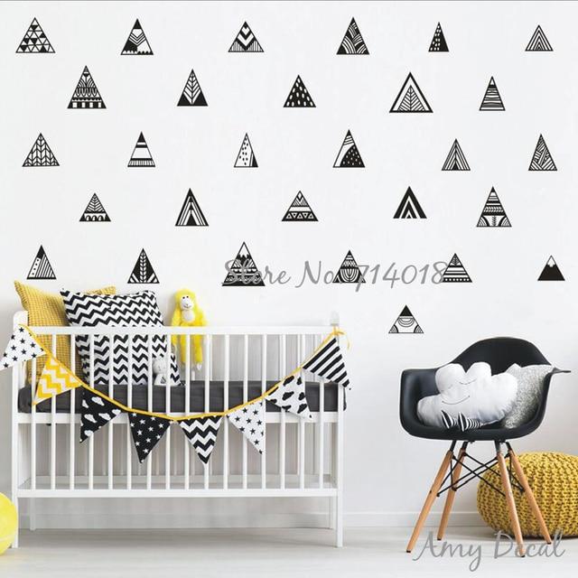 Style nordique Montagne Stickers Muraux Géométrique Triangle ...