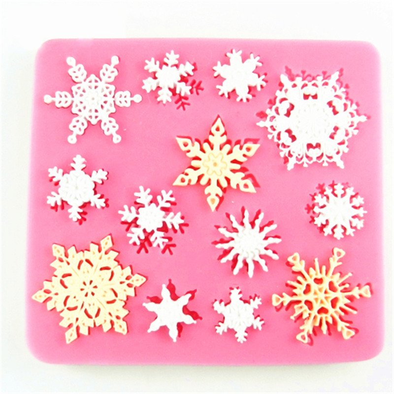 3D Ziemassvētku sniegpārsla forma Silikona veidnes Fondant Cookie Pelējuma Candy kūka Dekorēšanas veidnes Virtuves cepšanas rīks Kūka apdare