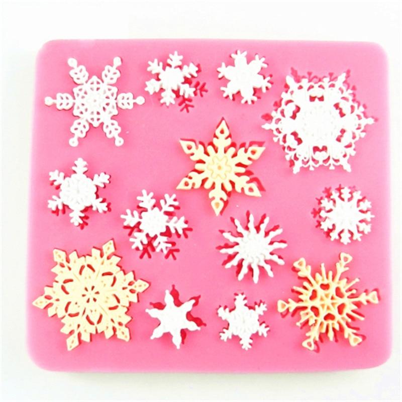 3D חג המולד פתית שלג בצורת סיליקון Moulds פוננט קוקי עובש עוגת ממתקים לקשט תבניות תבנית מטבח אפייה עוגה קישוט