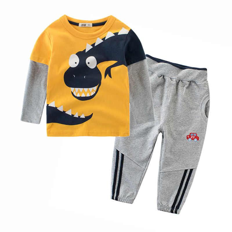 7b27115f6820 Новинка 2019 года, комплекты одежды для мальчиков с динозавром, Детская  футболка с длинными рукавами