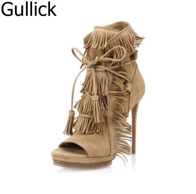Newest Woman Autumn Tassel Short Boots Beige Black Blue Suede Fringed Lace-Up Ankle Boots Sexy Open Toe High Heel Boot Free Ship gullick beige suede fringed high heel ankle boots open toe lace up ankle boots fashion tassel gladiator sandal boot womans