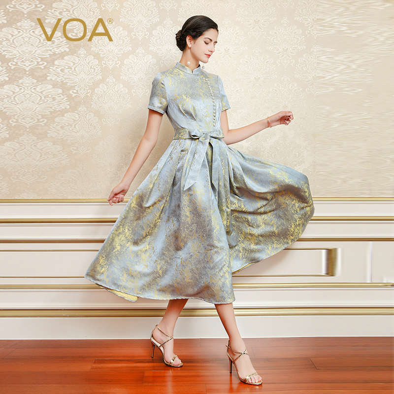 VOA Silk Jacquard Pearl Beading Party Dress Women Elegant Vintage Chinese Style Short Sleeve Bow Pleated Long Dress ALX09201