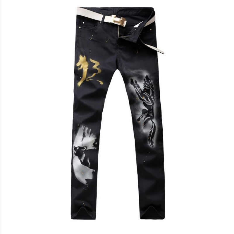 2017 New Vintage Wolf Print Man Jeans Fashion Slim Black Long Trousers new lone wolf and cub v 7