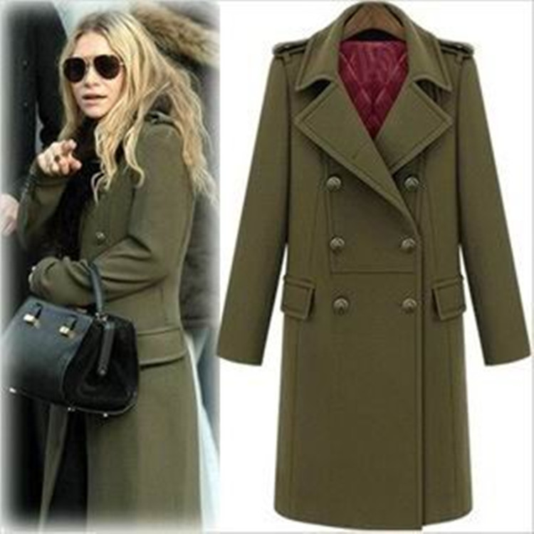 Army Green Womens Casual Outwear Trench Long Coat Double breasted Jacket Parka