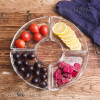 1Set European glass Sector Partition Fruit tray Dried fruit Snack Melon plates Snack dish