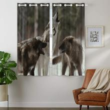 Blackout Curtains 2 Panels Grommet Curtain for Bedroom Wolves Howling In The Snow Animal