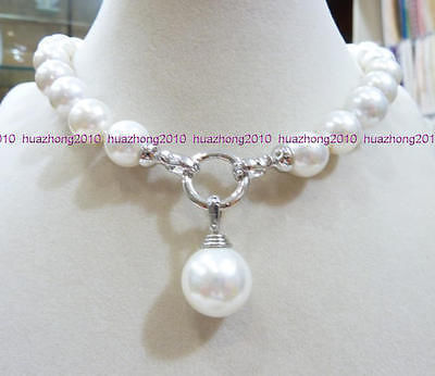 "Charming AAA+ 12MM WHITE ROUND SOUTH SEA SHELL PEARL NECKLACE 18"" ZY AAA style Fine Noble real Natural free shipping"