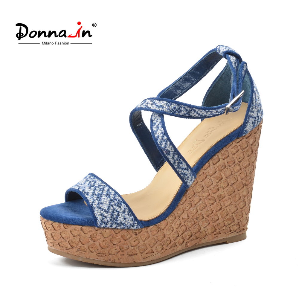 Donna-in 2018 Women Genuine Leather Sandals Platform High Heel Wedge Shoes Cross Strap Gladiator Sandals Open Toe Ladies Shoes black women wedge slippers 12cm high heel platform pumps genuine leather shoes woman gladiator sandals slides wedges creepers