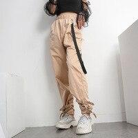 Harajuku Safari Style Pantalon Femme Khaki High Waist Joggers Pants Streetwear Women Knitted Pocket Cargo Harem Pants