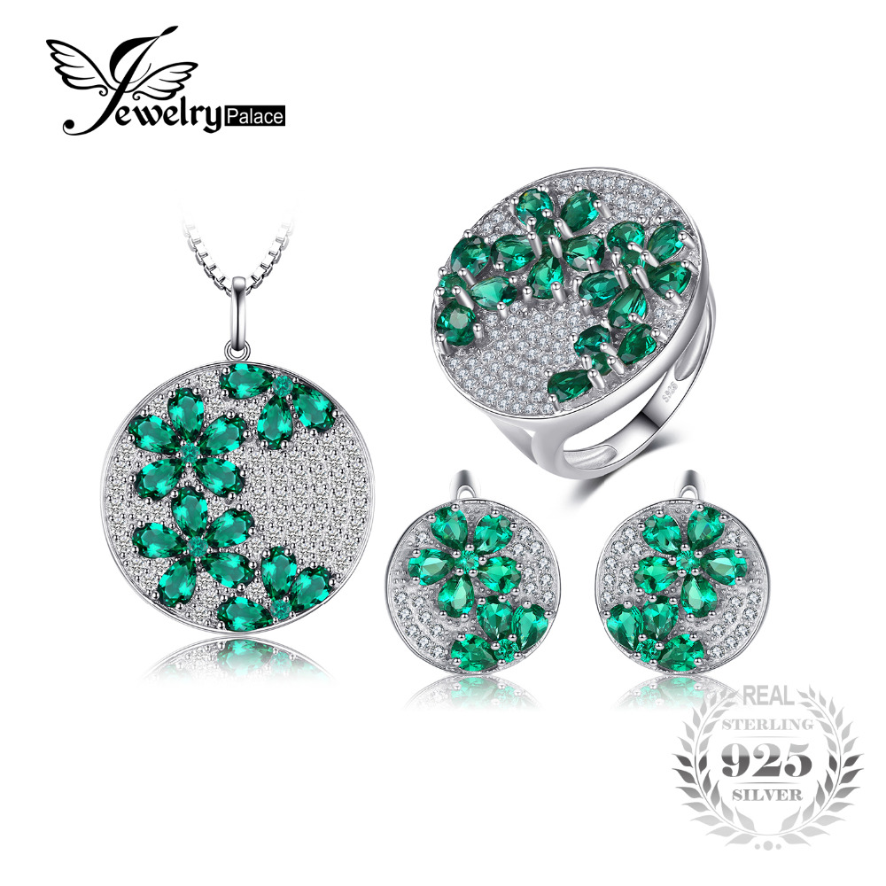 Jewelrypalace Created Emerald Jewelry Set Genuine 925 Sterling Silver Ring Necklace Pendant Earring Women Bridal Jewelry jewelrypalace princess diana jewelry engagement wedding created emerald jewelry 925 sterling silver ring pendant earring