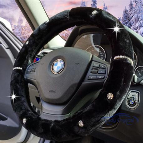 Ladycrystal Warm Wool Plush Steering Wheel Covers For BMW For Benz Crystal  Diamond Car Steering Wheel Cover 38 CM Universal In Steering Covers From ...
