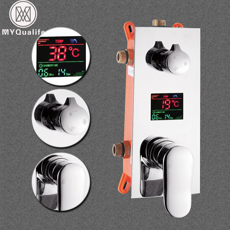 Bathroom Fixtures Wall Mounted Digital Shower Mixer Valve Control With Display Intelligent Pre-box Bath Shower Panel Shower Mixers Chrome Finish To Be Distributed All Over The World