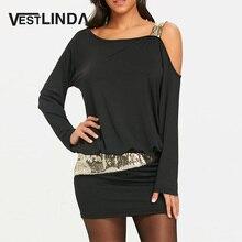 Vestlinda с длинным рукавом Блёстки Cold Shoulder Blouson Dress халат женский Повседневное косой воротник облегающее платье мини Платья для женщин Vestidos De Festa