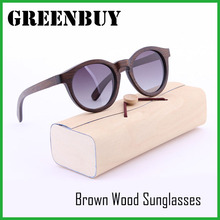 GREENBUY Girls Round Vogue Bamboo Sunglasses Women Gradient Gray HD Polarized Lens Wooden Frame Eyewear Glasses Wood Oculos Man