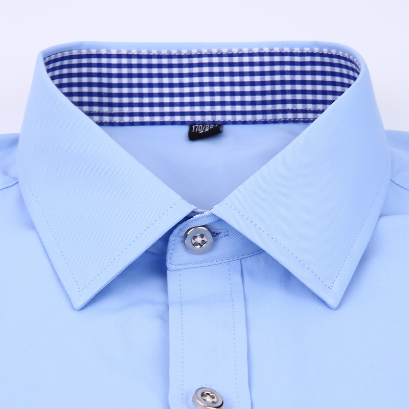 Image 4 - Men's Dress Shirts French Cuff Blue White Long Sleeved Business Casual Shirt Slim Fit Solid Color French Cufflinks Shirt-in Dress Shirts from Men's Clothing