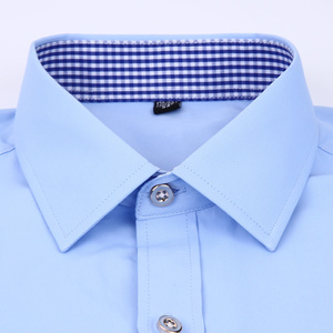 Image 4 - Mens Dress Shirts French Cuff Blue White Long Sleeved Business Casual Shirt Slim Fit Solid Color French Cufflinks Shirt