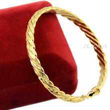 3 Color 6mm Women Ladies Party Gold Filled Plated Wire Bangles Bracelets Openable Wristband Jewelry(China)