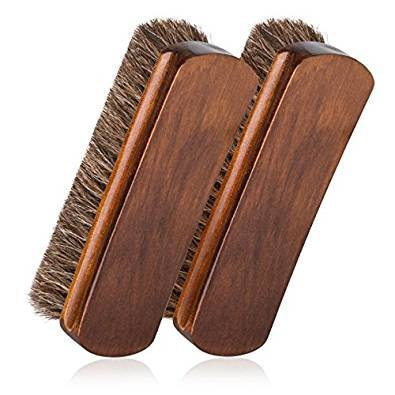 2pcs Horsehair Shoe Brush Shine Brushes Scraping Tool With Horse Hair Bristles For Boots, Shoes & Other Leather Care Brush