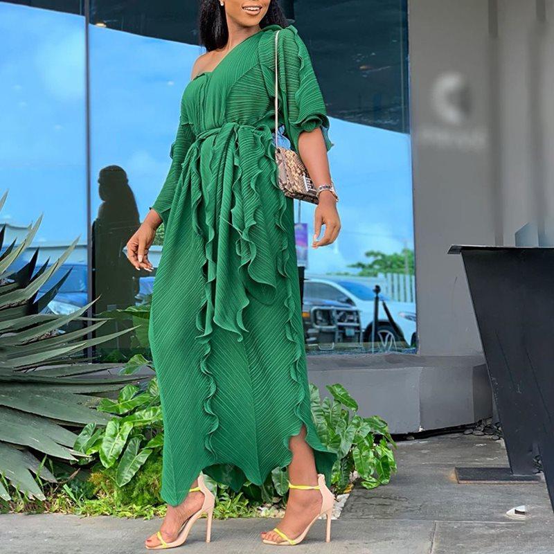 Vert élégant soirée fête voyage plage grande taille femmes longues robes dentelle plissée africaine Style ethnique jaune bleu Maxi robe