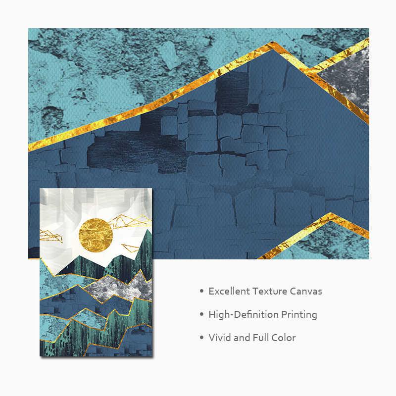 Скандинавские абстрактные геометрические горные пейзажи настенные художественные картины на холсте золотое солнце художественный плакат печать Настенная картина для гостиной