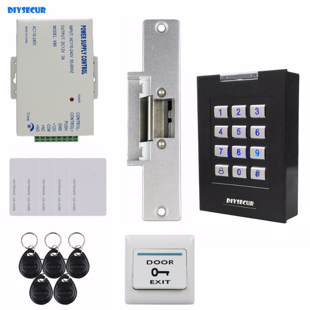 DIYSECUR 125KHz RFID Reader Blue Backlight Keypad Door Access Control Security System Kit + Electric Strike Lock KS160 diysecur 125khz rfid metal case keypad door access control security system kit electric strike lock power supply 7612