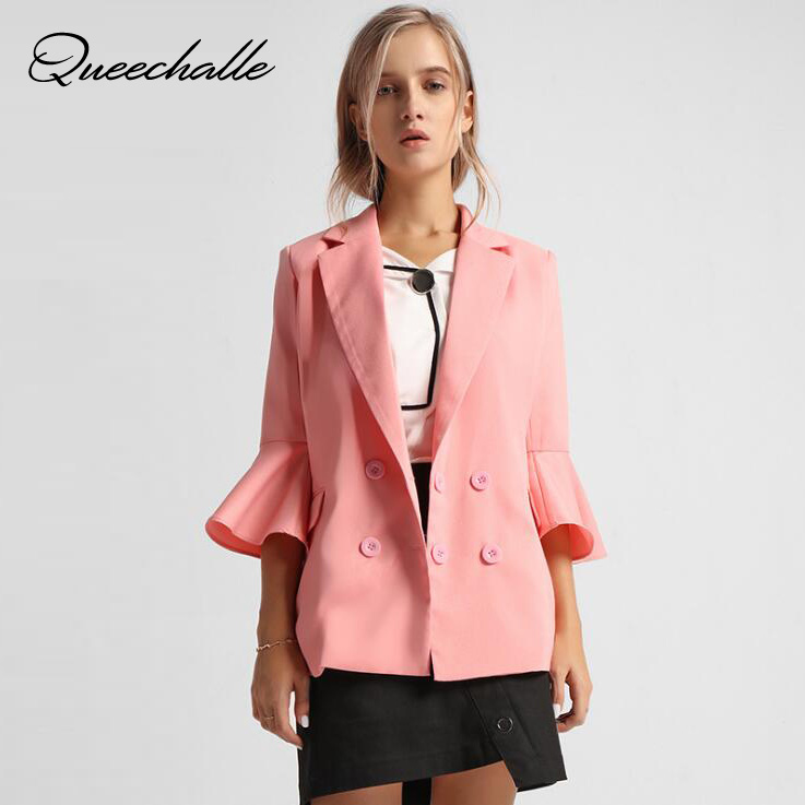 Pink color women blazer Spring Autumn Flare sleeve casual suit jacket coat for female Office Lady slim workwear