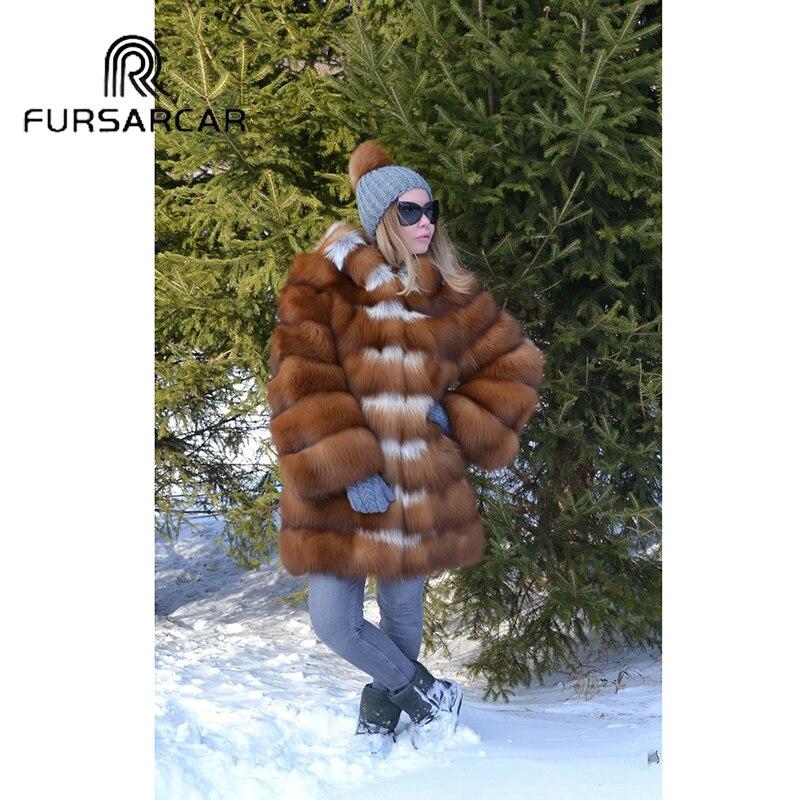 Or Manteau Luxe De Naturel Épais Mode Veste Nouveau Chaud Capuche Femmes 2018 D'hiver Fourrure Réel Fursarcar Avec Renard Eqzn11A