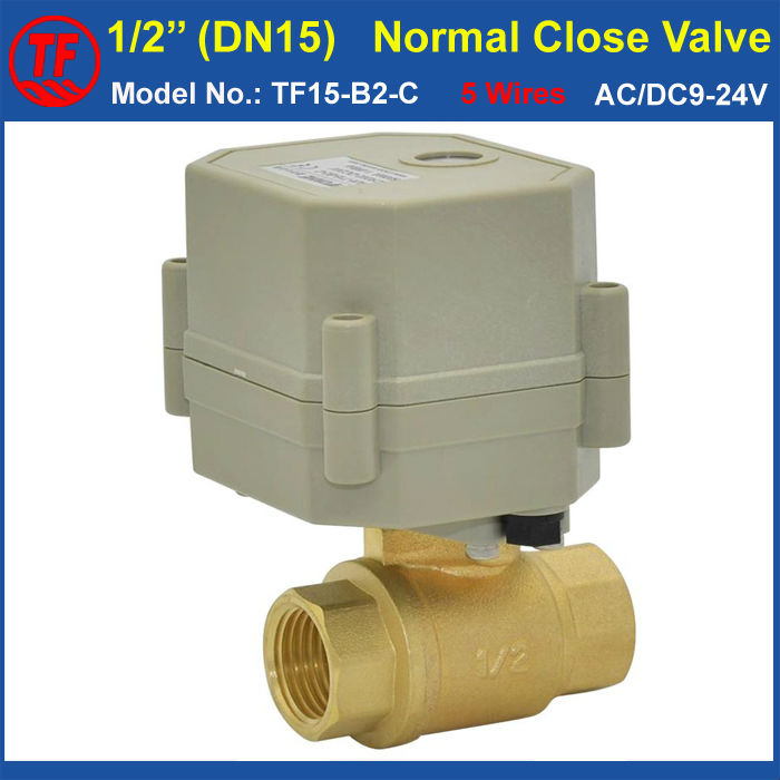 AC/DC9-24V DN15 Normal Close Valve 5 Wires With Signal Feedback TF15-B2-C NPT/BSP 1/2'' Actuated Ball Valve For Water Control ac110 230v 5 wires 2 way stainless steel dn32 normal close electric ball valve with signal feedback bsp npt 11 4 10nm