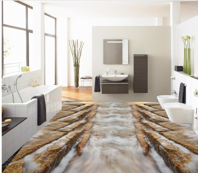 3d pavimenti in mare reef onda pavimento 3d carta da parati per bagno impermeabile pvc carta da - Carta da parati lavabile per bagno ...