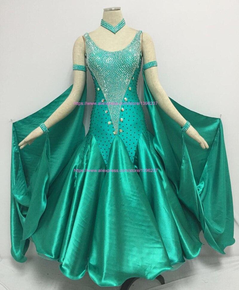 3c7e3d14ec92c ستاندرد قاعة الرقص ثوب الكبار أعلى جودة مخصص البريق فساتين النساء الفالس  تانجو قاعة الرقص المنافسة