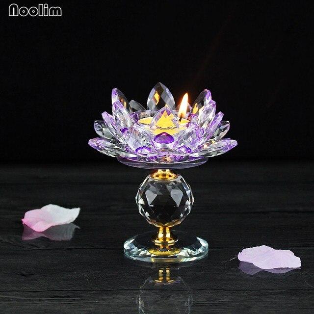 Noolim Crystal Glass Block Lotus Flower Metal Candle Holders Feng