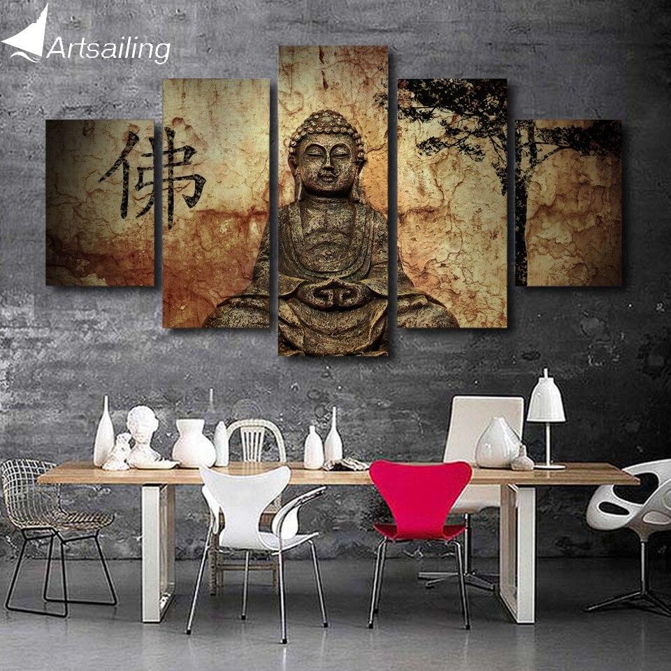 HD Gedruckt 5 stück leinwand kunst Buddha gemälde an der wand für ...