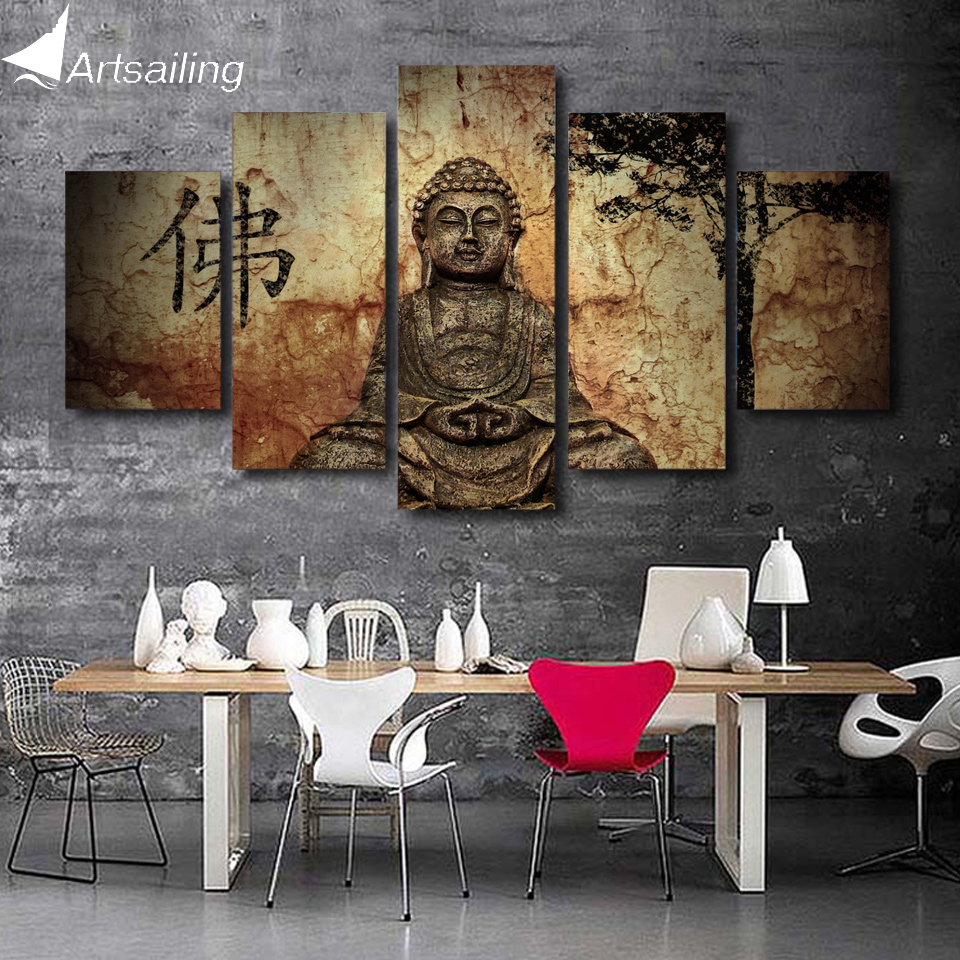 HD Printed 5 piece canvas art Buddha combine painting living room decoration bedroom wall art Free
