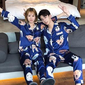 Image 2 - Severler Pijama kadın ipek saten Pijama Bighead köpek baskılı eğlence kadın Poplin Pijama seti dönüş yaka yaka ev eşyaları