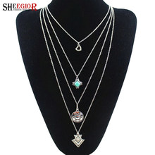 SHEEGIOR Bohemian Silver Multilayer Chains Long Necklace Women Fashion Jewelry Love Heart/Cross/Round/Arrow Pendants & Necklaces(China)