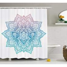 0d4466106 Vixm Lotus Shower Curtain Bohemian Tattoo Zen Pastel Toned Mandala Abstract  Lotus Flower Design Fabric Bath Curtains