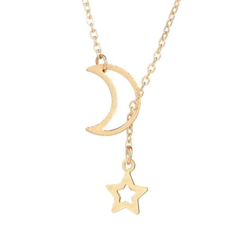 Fantastyczny damski księżyc wisiorek w kształcie gwiazdy Choker naszyjnik złoty długi łańcuszek srebrny biżuteria prosty Pendientes Torque naszyjnik ozdoba